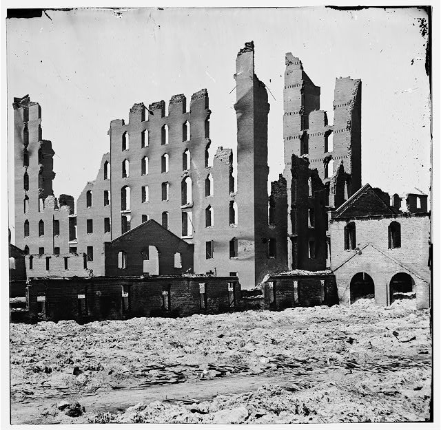 Richmond, Virginia. Ruined buildings in the burned district.  Photograph of the main eastern theater of war, fallen Richmond, April-June 1865.  (Library of Congress)