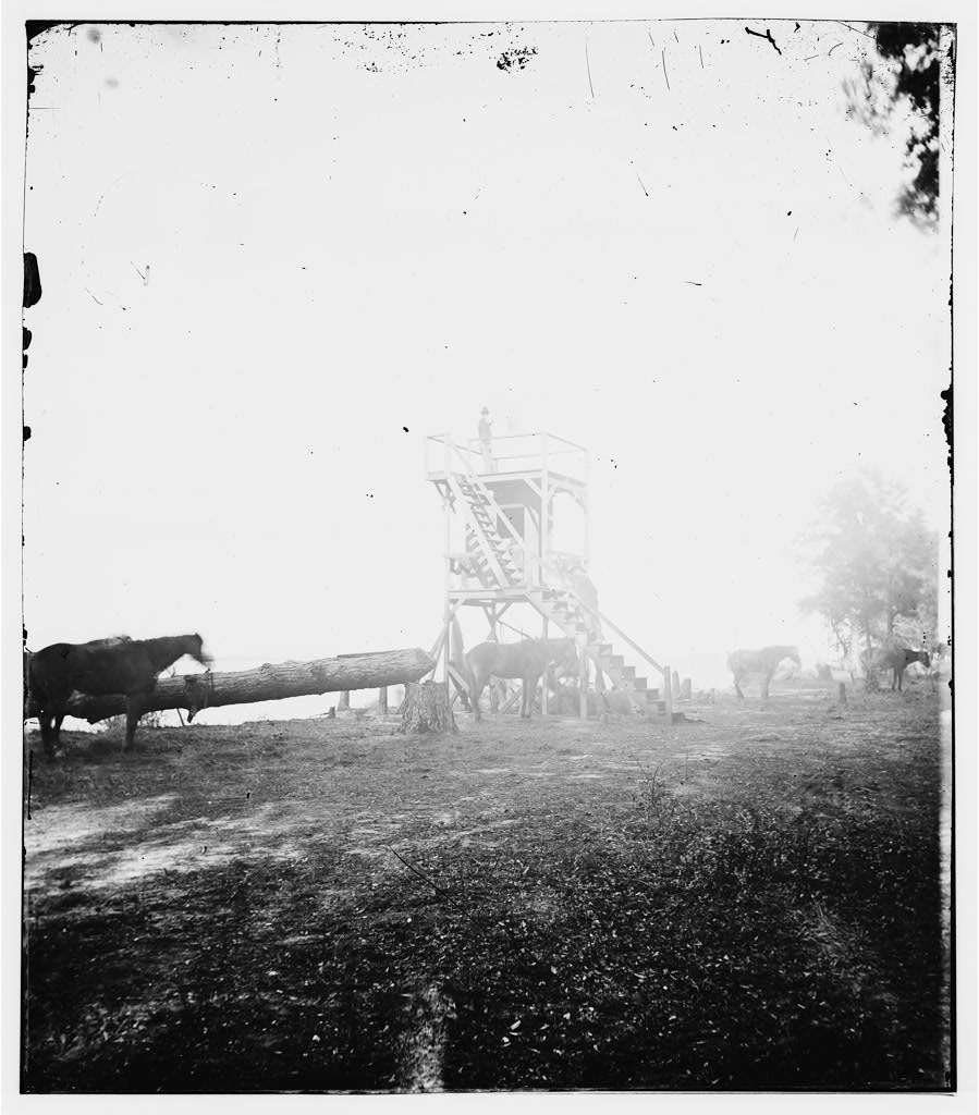 "See the blackened edges, scrapes, and the odd silvery sheen? These problems could be prevented under the right conditions. Learn more from Graphic Atlas or the ""Family Photo"" webinar. ""Confederate signal tower at Ft. McAllister, Georgia. by Sam A. Cooley"" from the Library of Congress via American Memory."