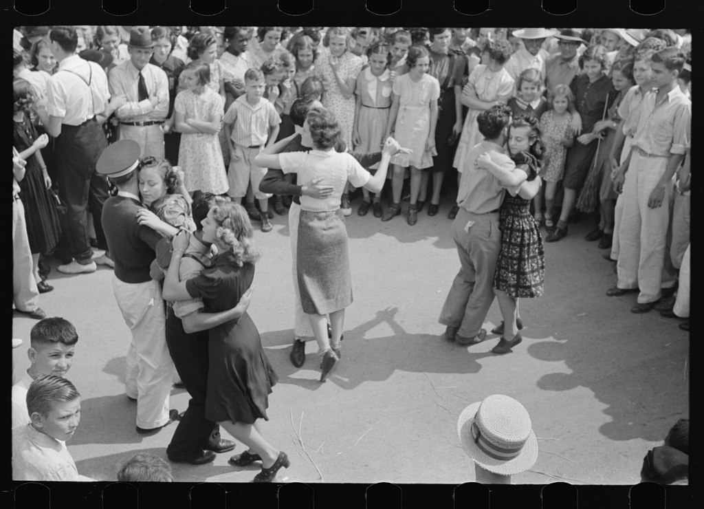 Couples dancing. Street dance, National Rice Festival, Crowley, Louisiana.