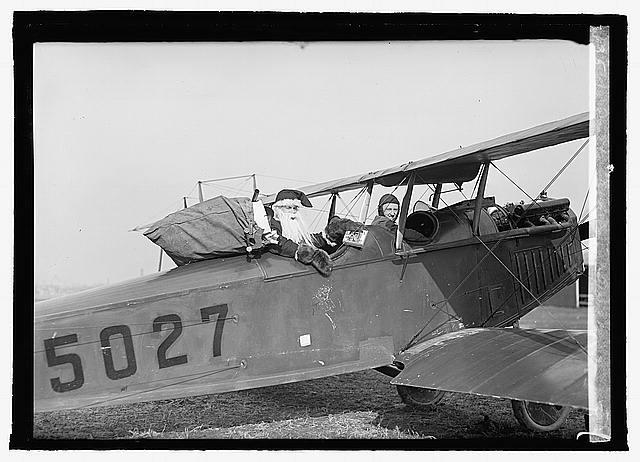 Santa Claus in aeroplane