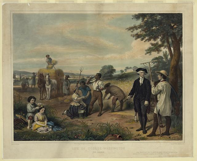 Life of George Washington--The farmer / painted by Junius Brutus Stearns ; lith. by Régnier, imp. Lemercier, Paris, c. 1853.  (Library of Congress)