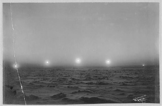 Position of sun at 10 and 11 a.m., 12 p.m., and 1 and 2 p.m., Nome, Alaska, c. 1911