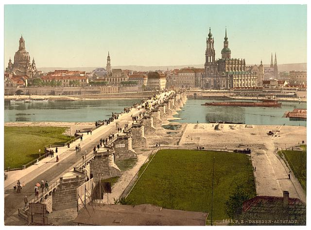 Altstadt, Dresden, seen from the Ministry of War, Saxony, Germany, between ca. 1890 and ca. 1900