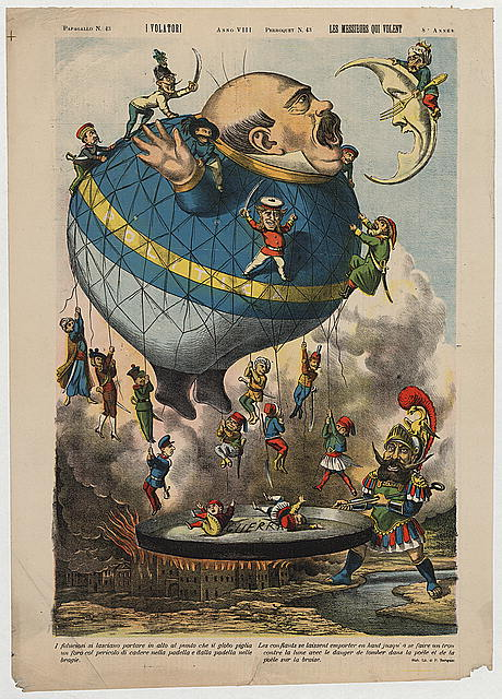 Italian political cartoon shows a large balloon (Politica) in the shape of a man ready to gobble up the moon (Oriente) defended by a man (Turco) holding a fork. Other armed men representing the nations of Europe and North Africa are falling off the balloon into the frying pan of war (Guerra) held by the Roman god Mars (Marte).  Illus. from: Papagallo, n. 43, anno VIII ; Le perroquet, journal politique charivarique illustré colorié, n. 43, dimanche 24 octobre 1880.