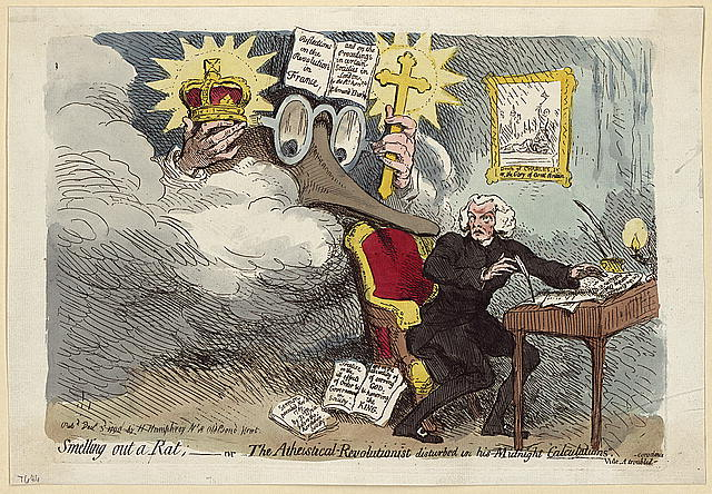 Smelling out a rat; or the atheistical-revolutionist disturbed in his midnight calculations.  Print shows Richard Price seated at a desk, he turns to look over his right shoulder at a vision of an enormous Edmund Burke, his spectacles, nose, and hands emerge from the haze, a crown in one hand and a cross in the other, on his head an open copy of his Reflections on the Revolution in France.... Hanging on the wall is an illustration of the beheading of Charles I titled, Death of Charles I, or the Glory of Great Britain.  Pubd. by H. Humphrey No. 18 Old Bond Street (London), 1790 Dec. 3d (Library of Congress)