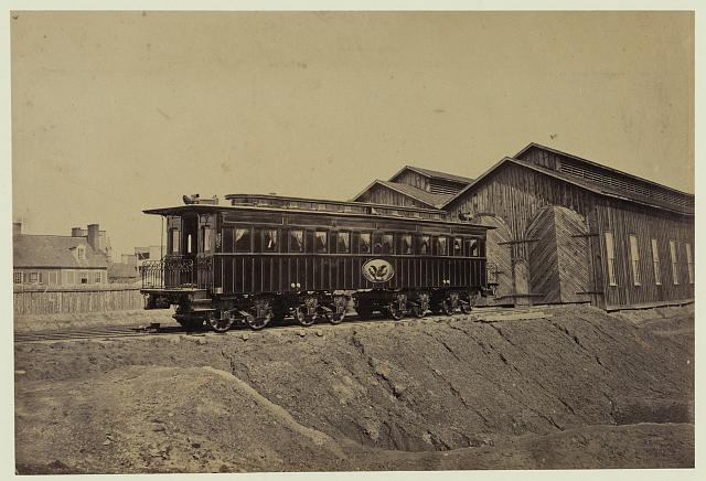 Presidents rail car at the Alexandria station. Photograph probably taken in Jan. The car was later used as Lincolns funeral car.  Russell J. Andrew, photographer.