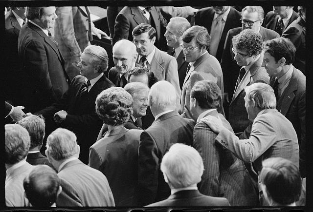 President Jimmy Carter at the State of the Union address surrounded by members of Congress, Washington, D.C., January 23, 1980.