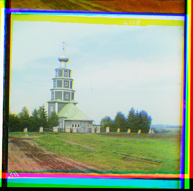 Old church of the Tikhvin Mother of God on the right bank of the Tvertsa River. Torzhok, Russian Empire.  (1910)