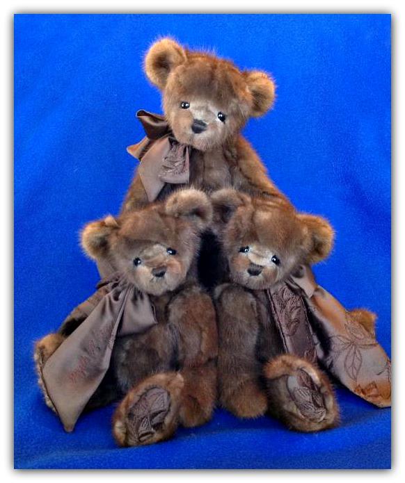 Three Mink Coat Teddy Bears