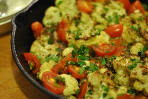 Cauliflower Steaks with Capers, Tomatoes and Mint