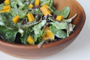 Mixed Green Salad with Mango, Sesame Seeds & Ginger Yogurt Dressing