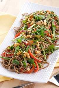 Asian Soba Noodle Salad with Coconut Ginger Dressing