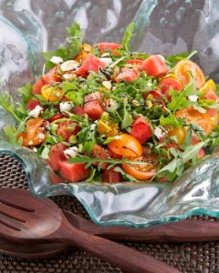 Watermelon, Tomato, Pistachio and Feta Salad