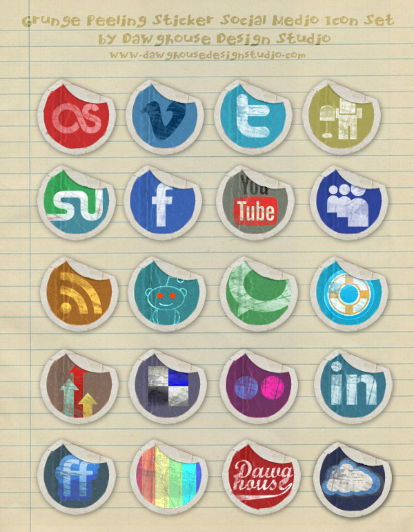 grunge-peeling-stickers-icon-set