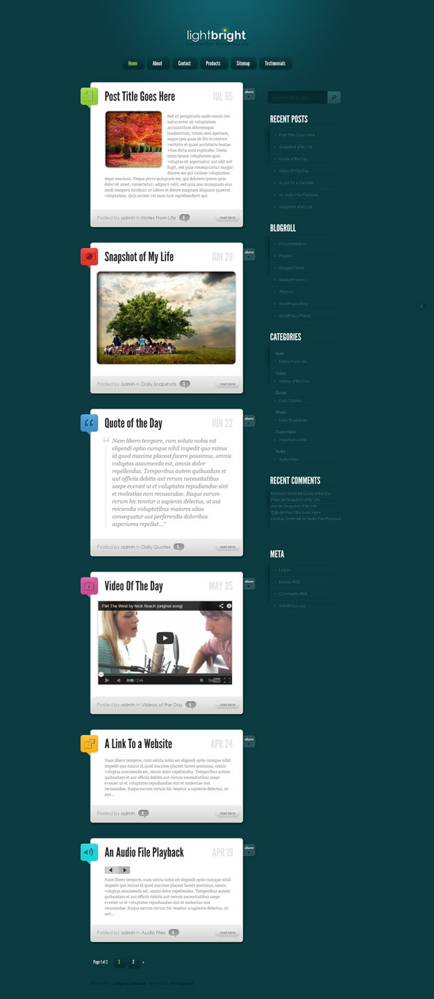 lightbright tumblr wordpress theme