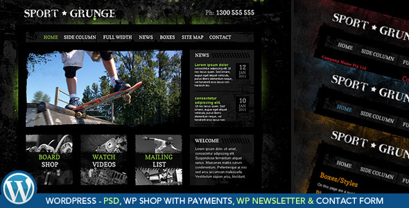 dirt sport and grunge wordpress theme