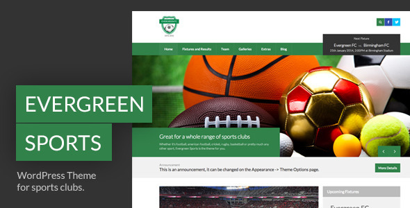 evergreen sports wordpress theme