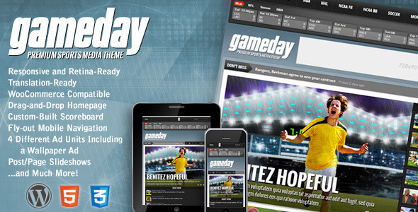 gameday wordpress theme