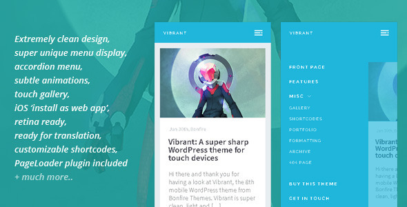 vibrant wp template for mobile