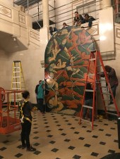 2nd mural lowered to the floor of the mansion.