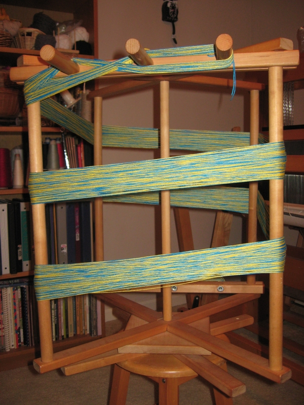 winding a warp of 5 1/2 yards of 312 ends bamboo yarn on a warping reel