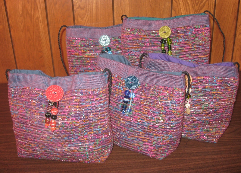 Rag purses handwoven with fabric strips