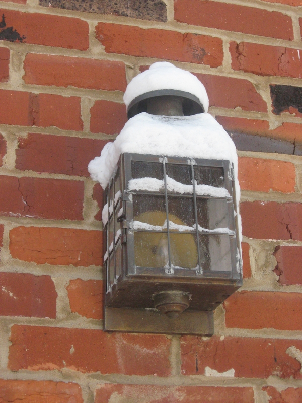 snow covered lamp