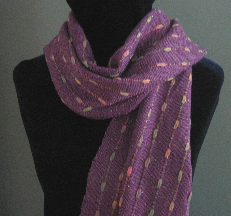 """""""Purple Passion"""" handwoven bamboo/cotton/metallic scarf with warp floats"""