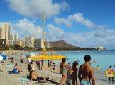 Sunny, crowded Waikiki Beach