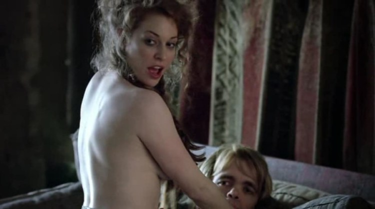 Ros (Esme Bianco) rides Tyrion Lanister (Peter Dinklage) S1E1
