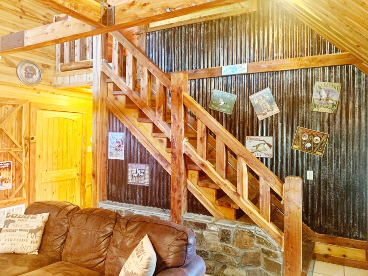 Rustic staircase in mountainside cabin