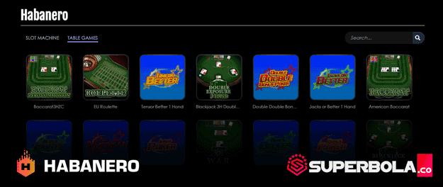 Daftar permainan table games Habanero SuperBola