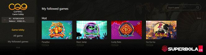 Lobby utama permainan slot online CQ9 SuperBola
