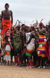 Marcy Mendelson, The Samburu Story   Rising high, Samburu moran (warriors) jump as part of the dance, and to show off their skills.