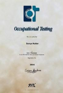 Sonya Wilkins Occupational Testing Level 1 OPQ Certificate