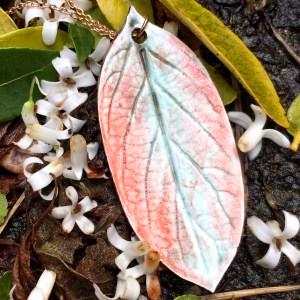 Ceramic Honeysuckle Leaf Pendant by Sonya Ceramic Art