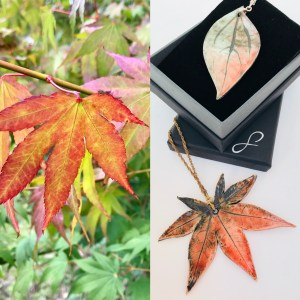 Real Maple Leaf to Pendant by Sonya Ceramic Art