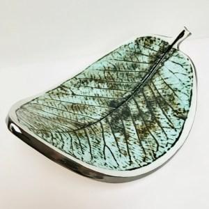 Sonya Ceramic Art Green Leaf Dish