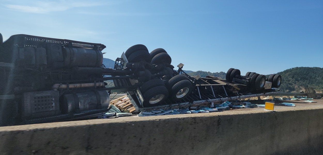 Semi full of soil overturned on Hwy 101 south of Willits. [Photos by Brandon Lawson]