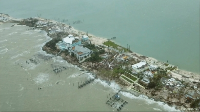 An aerial view shows devastation after hurricane Dorian hit the Abaco Islands in the Bahamas, September 3, 2019, in this still image from video obtained via social media. Terran Knowles/Our News Bahamas/via REUTERS ATTENTION EDITORS - THIS IMAGE HAS BEEN SUPPLIED BY A THIRD PARTY. MANDATORY CREDIT. NO RESALES. NO ARCHIVES.