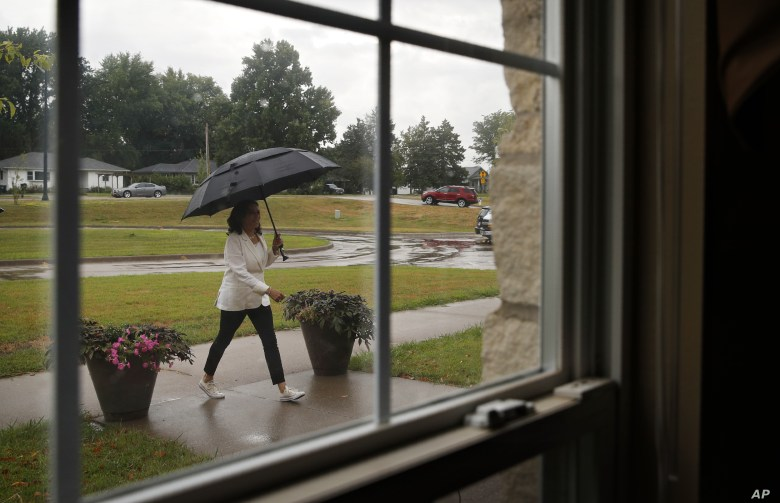 Democratic presidential candidate Sen. Kamala Harris, D-Calif., arrives for a visit at the Bickford Senior Living Center, Aug. 12, 2019, in Muscatine, Iowa.