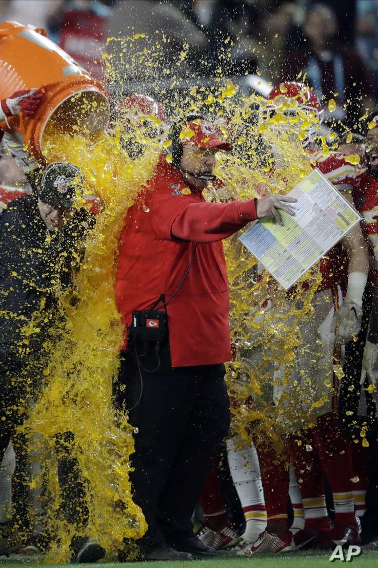 Kansas City Chiefs head coach Andy Reid is doused on the sideline during the second half of the NFL Super Bowl 54 football game…