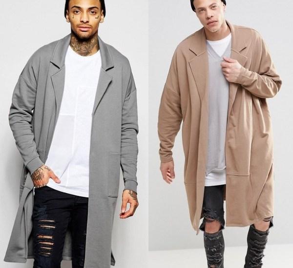 Angesagter Oversize Mantel in zwei Varianten. Lange, extreme Oversize-Duster-Jacke aus beigefarbenem oder grauem Jersey.