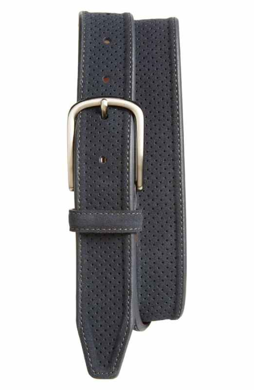 Perforated Suede Belt