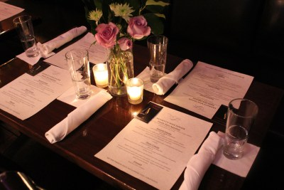 Photo of a wine pairing dinner table setting