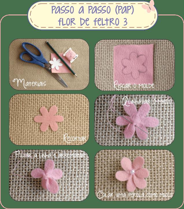 Como Fazer Flor de Feltro 3 - Passo a Passo (PAP)