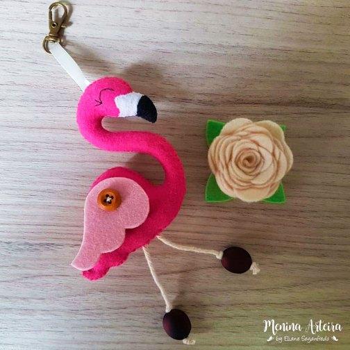 Lembrancinha Chaveiro Flamingo De Feltro Passo A Passo Menina