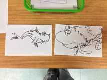 Step 1, Drawing of Dr. Seuss Fish Grade 1