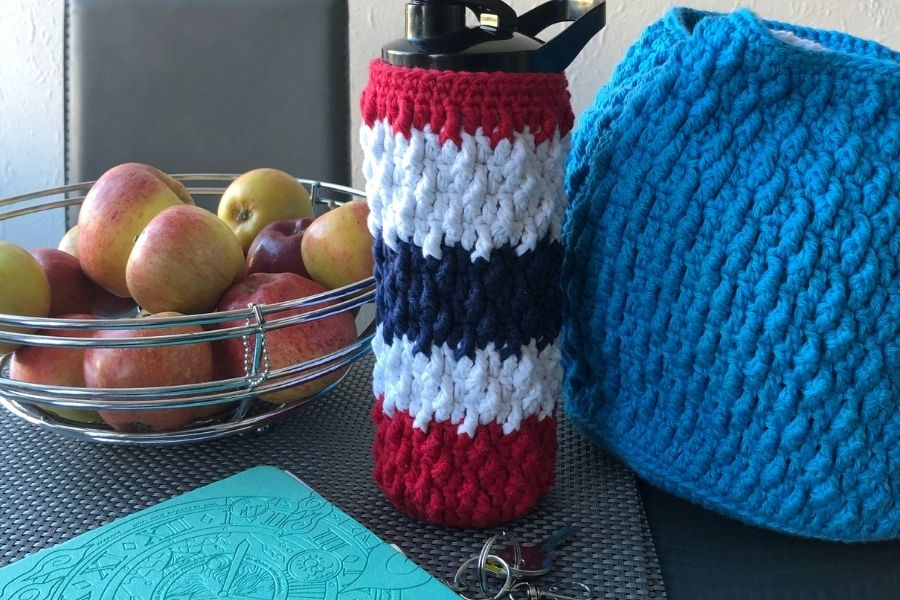 free crochet water bottle cover pattern