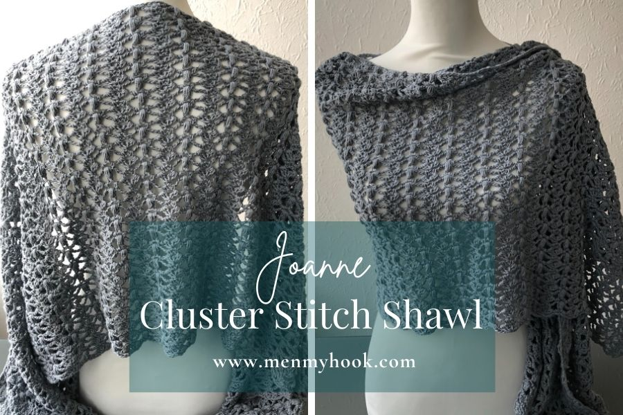 Cluster stitch crochet rectangle shawl pattern - Joanne